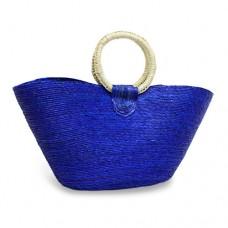 Bolsa Costureada grande azul con aro
