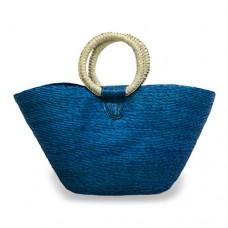 Bolsa Costureada grande azul turquesa con aro